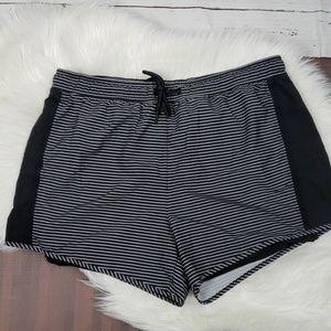 Black & White Striped Plus Size Double Shorts